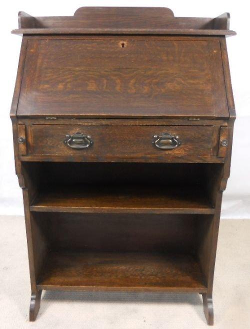 narrow oak writing bureau bookcase 111799. Black Bedroom Furniture Sets. Home Design Ideas