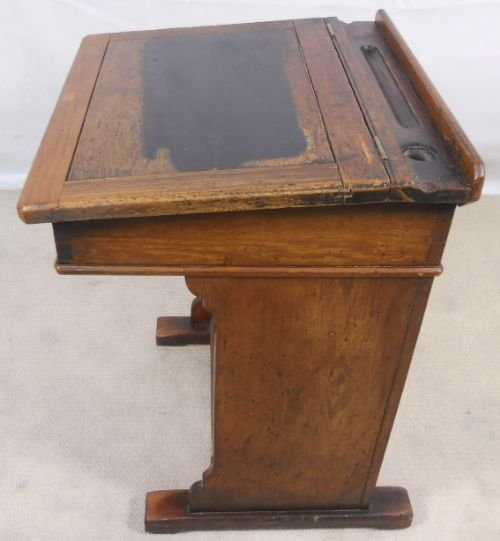victorian pitch pine school teachers writing desk - Victorian Pitch Pine School Teachers Writing Desk 112035