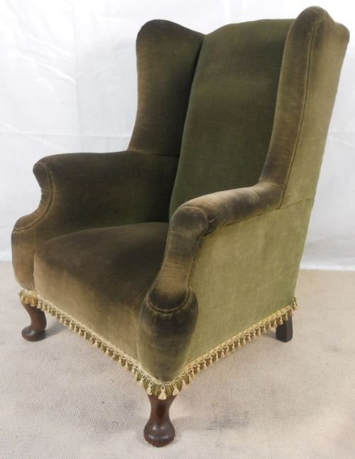 Queen Anne Style Wingback Armchair 112817 Sellingantiquescouk
