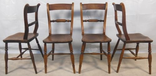 Four Antique Elm Windsor Kitchen Chairs | 113224 | Sellingantiques.co.uk - Four Antique Elm Windsor Kitchen Chairs 113224 Sellingantiques
