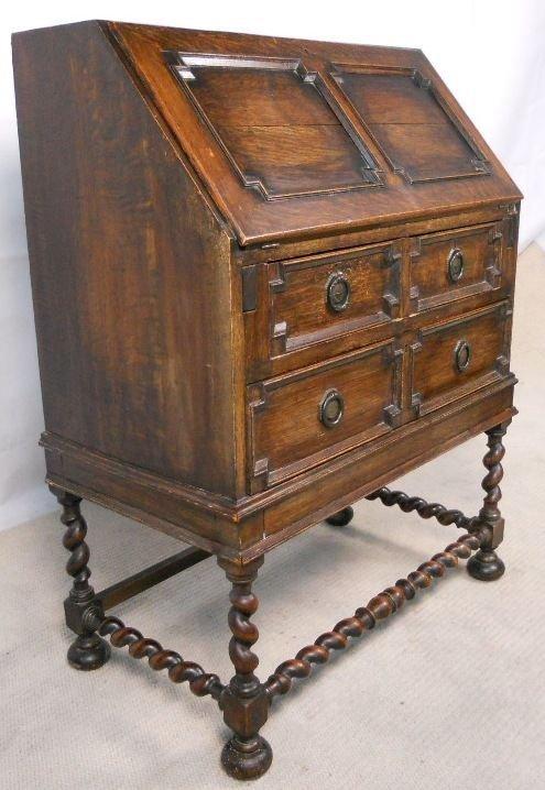 jacobean style oak writing bureau desk 117659. Black Bedroom Furniture Sets. Home Design Ideas