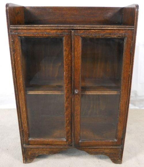 small oak glazed standing bookcase