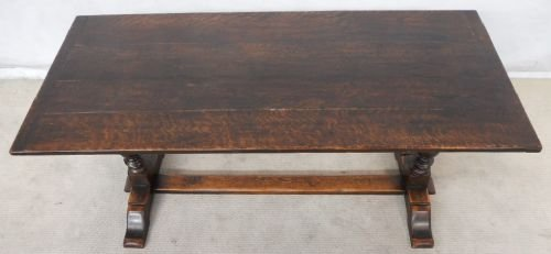 antique jacobean style dark oak refectory dining table photo angle