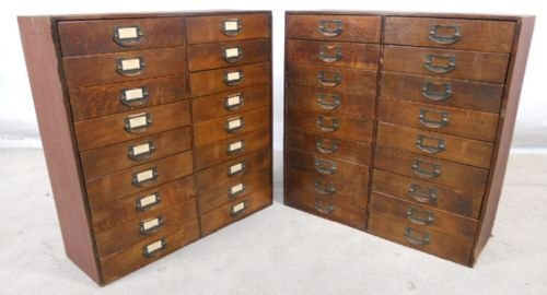 Merveilleux Pair Wooden Multi Drawer Index Or Collectors Cabinets
