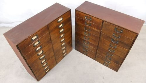 Pair Wooden Multi Drawer Index Or Collectors Cabinets   122038 ...