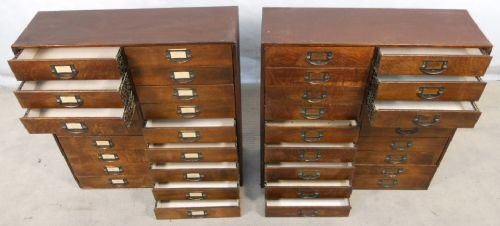 Attractive Pair Wooden Multi Drawer Index Or Collectors Cabinets | 122038 |  Sellingantiques.co.uk