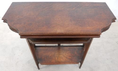 edwardian oak foldover tea table