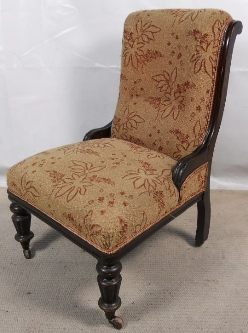 victorian ebonized nursing chair. antique photo - Victorian Ebonized Nursing Chair 132783 Sellingantiques.co.uk