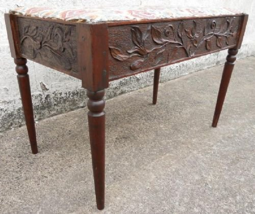 victorian carved oak seat stool