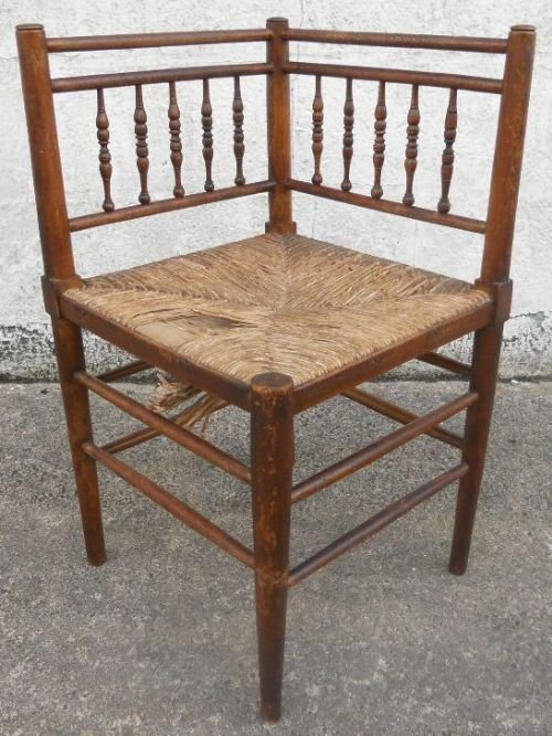 Charming Wooden Spindleback Rush Seat Corner Chair