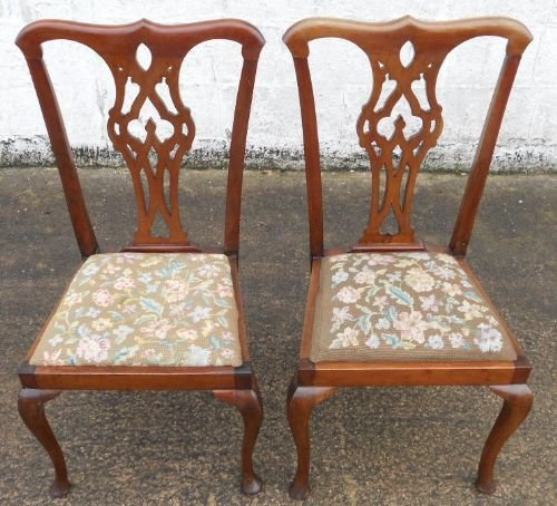 pair georgian style mahogany dining chairs