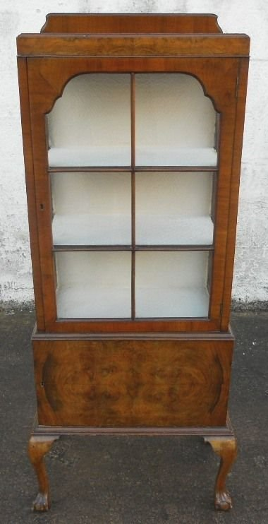 Queen Anne Style Walnut Display China Cabinet