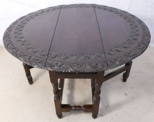 Antique Dark Carved Oak Round Gateleg Dining Table 153980