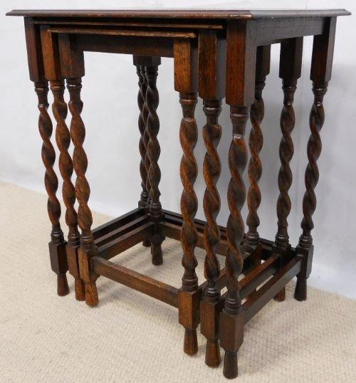 Small Beech Oak Nest Of Three Barley Twist Coffee Tables 158195