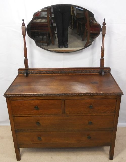 S Oak Dressing Table With Carved Decoration - Antique oak dressing table