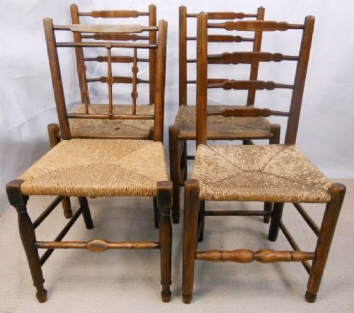 page load time 0.16 seconds & Four Antique Elm Country Rush Seat Chairs | 160668 | Sellingantiques ...