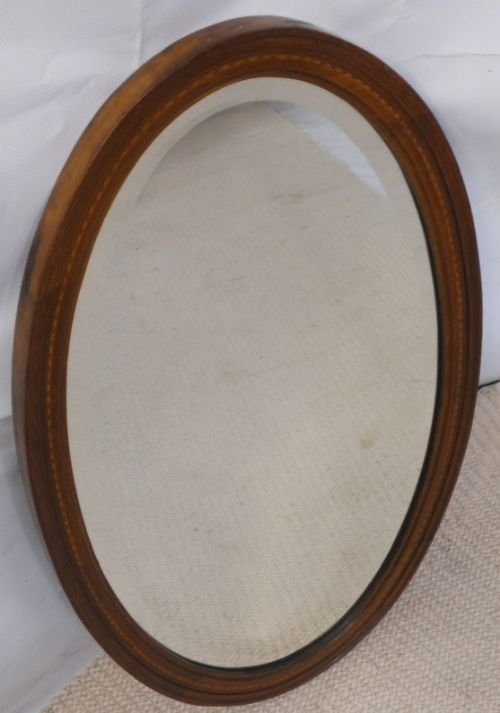 edwardian oval inlaid mahogany hanging wall mirror