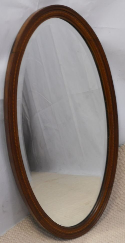 edwardian oval inlaid mahogany hanging wall mirror - photo angle #2