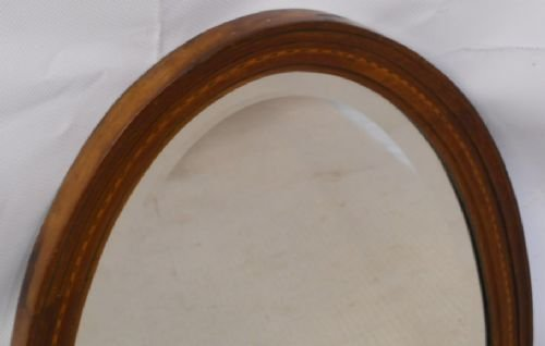 edwardian oval inlaid mahogany hanging wall mirror - photo angle #3