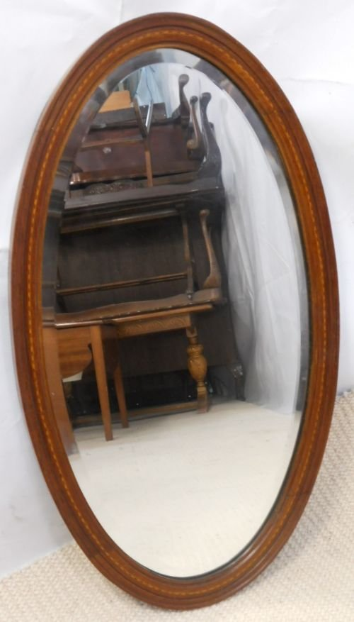 edwardian oval inlaid mahogany hanging wall mirror - photo angle #4