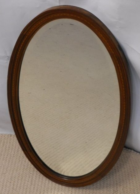 edwardian oval inlaid mahogany hanging wall mirror - photo angle #5