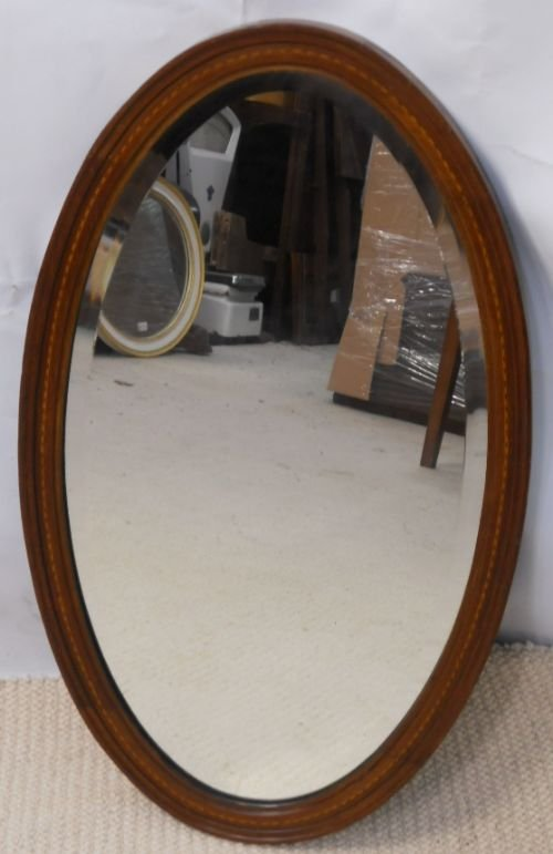 edwardian oval inlaid mahogany hanging wall mirror - photo angle #6