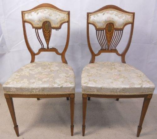 pair edwardian inlaid mahogany salon chairs