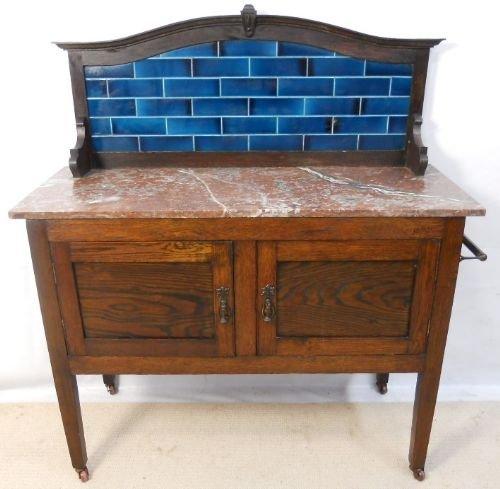 Edwardian Tile Back Marble Top Oak Washstand 170144