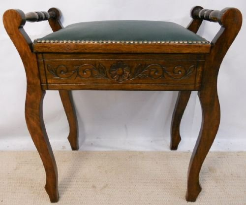 Edwardian Carved Walnut Piano Stool - Piano Stools & Angled Adjustable Piano Stool Rise U0026 Fall