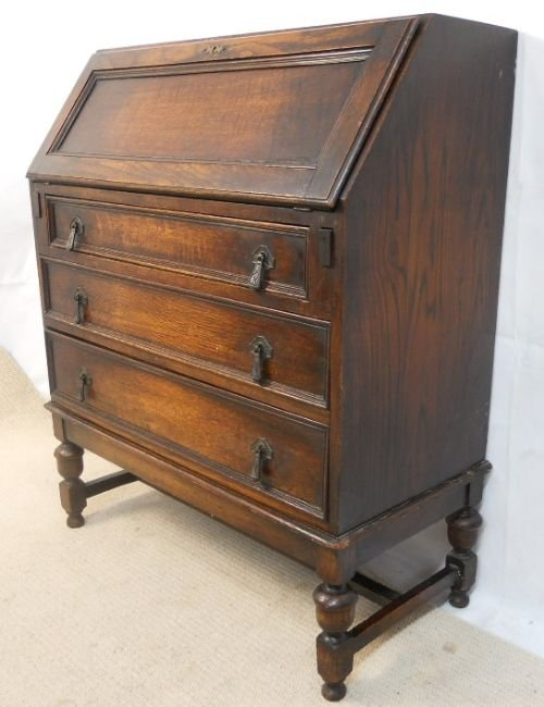jacobean style oak writing desk bureau 174778. Black Bedroom Furniture Sets. Home Design Ideas
