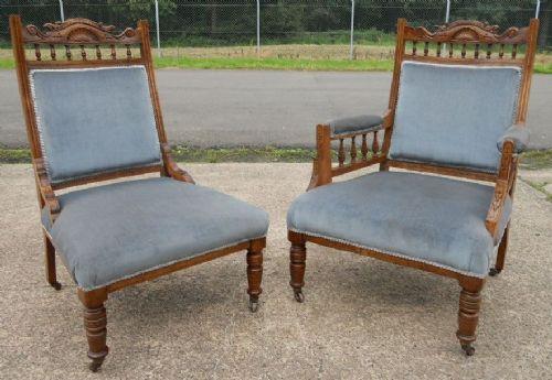 Pair Of Edwardian Walnut Ladies & Gent's Salon Chairs