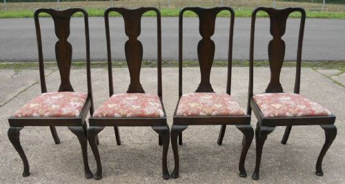 Brilliant Set Of Four Queen Anne Style Dark Oak Dining Chairs 182509 Dailytribune Chair Design For Home Dailytribuneorg