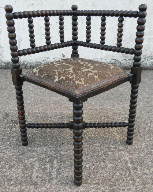 Bobbin Turned Ebonized Wood Corner Chair