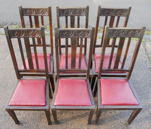 Set Of Six Art Nouveau Beech Highback Dining Chairs