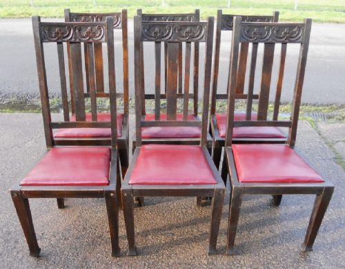 set of six art nouveau beech highback dining chairs