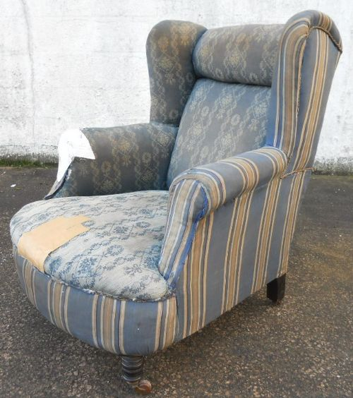 victorian wingback fireside armchair for reupholstery