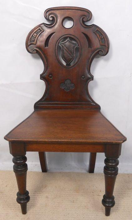 Merveilleux Victorian Mahogany Hall Chair