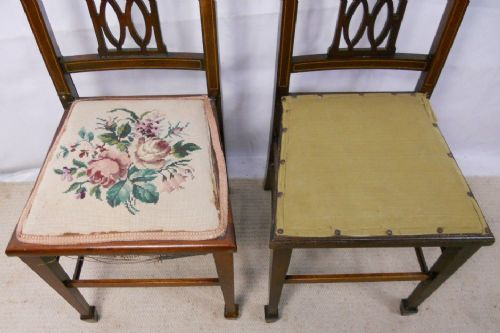 Pair Edwardian Inlaid Mahogany Bedroom Chairs 196847