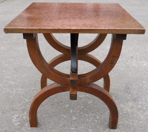 Arts Craft Copper Top Oak Coffee Table 210396 Sellingantiques