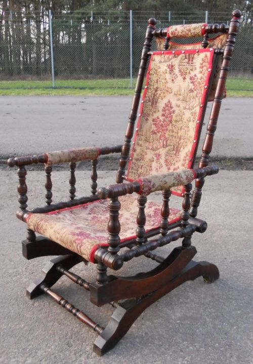 Victorian Walnut Framed Upholstered Rocking Armchair ...