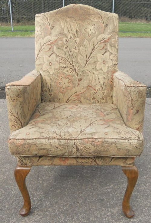 Queen Anne Style Fireside Armchair For Re Upholstery 213854 Sellingantiqu