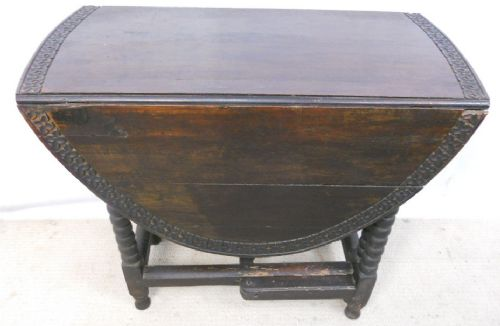 victorian carved dark oak small oval gateleg dining table 217349. Black Bedroom Furniture Sets. Home Design Ideas