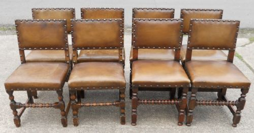 Eight Leather Oak Studded Back Cromwellian Style Dining Chairs
