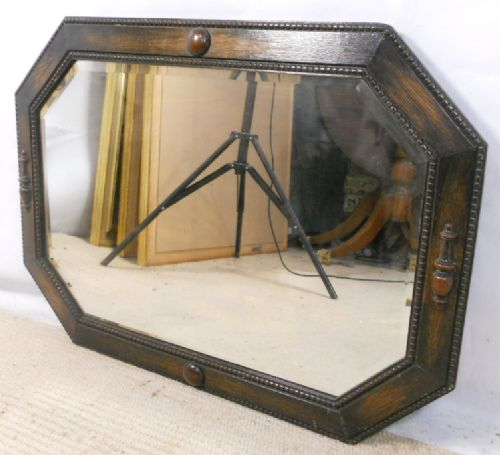 Large oak jacobean style hexagonal shape hanging wall for Hanging a large mirror