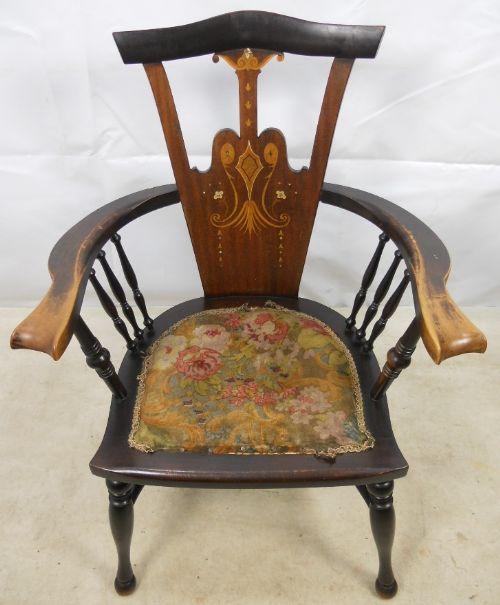 art nouveau inlaid mahogany armchair