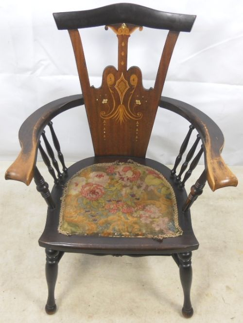 art nouveau inlaid mahogany armchair - photo angle #2
