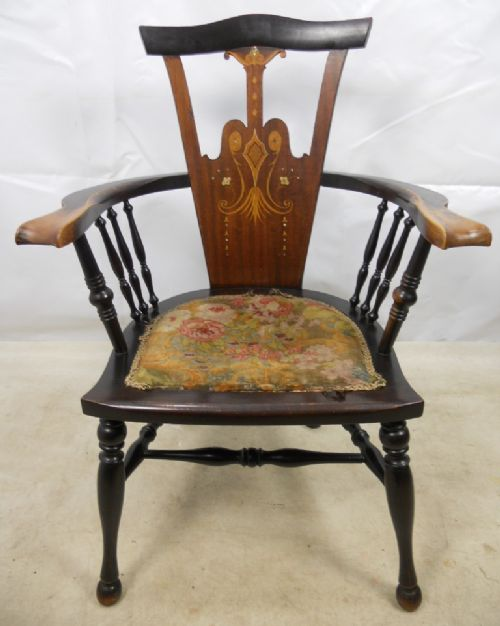 art nouveau inlaid mahogany armchair - photo angle #3