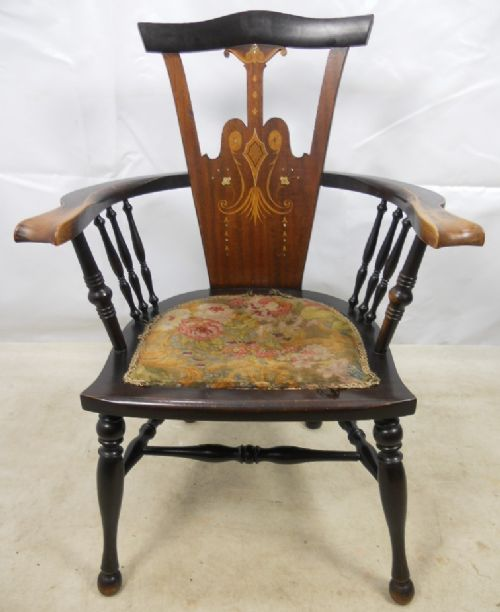 art nouveau inlaid mahogany armchair - photo angle #4