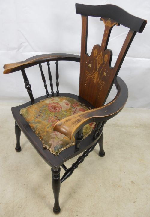 art nouveau inlaid mahogany armchair - photo angle #7