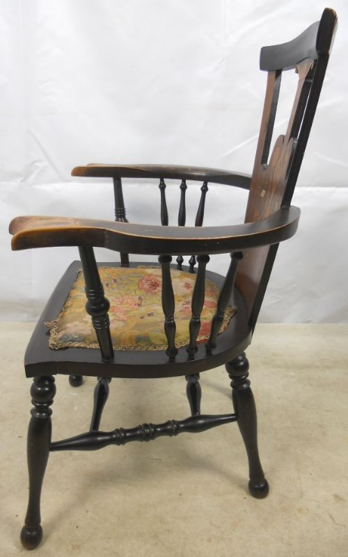 art nouveau inlaid mahogany armchair - photo angle #8